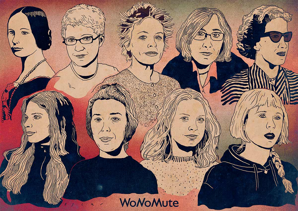 9 Women in Music Tech (WoMuTe) Heroes. Illustration by Oscar Martinez Castells.