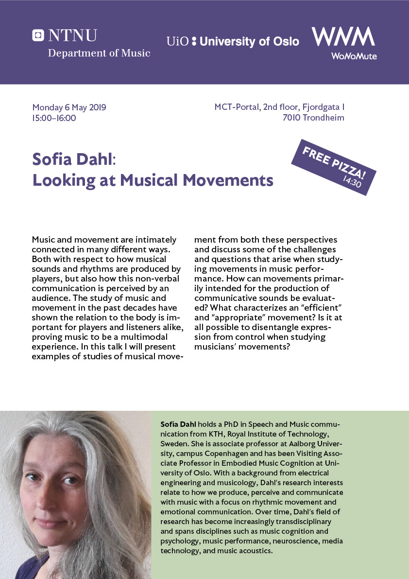 Poster of Sofia Dahl's talk in Trondheim.
